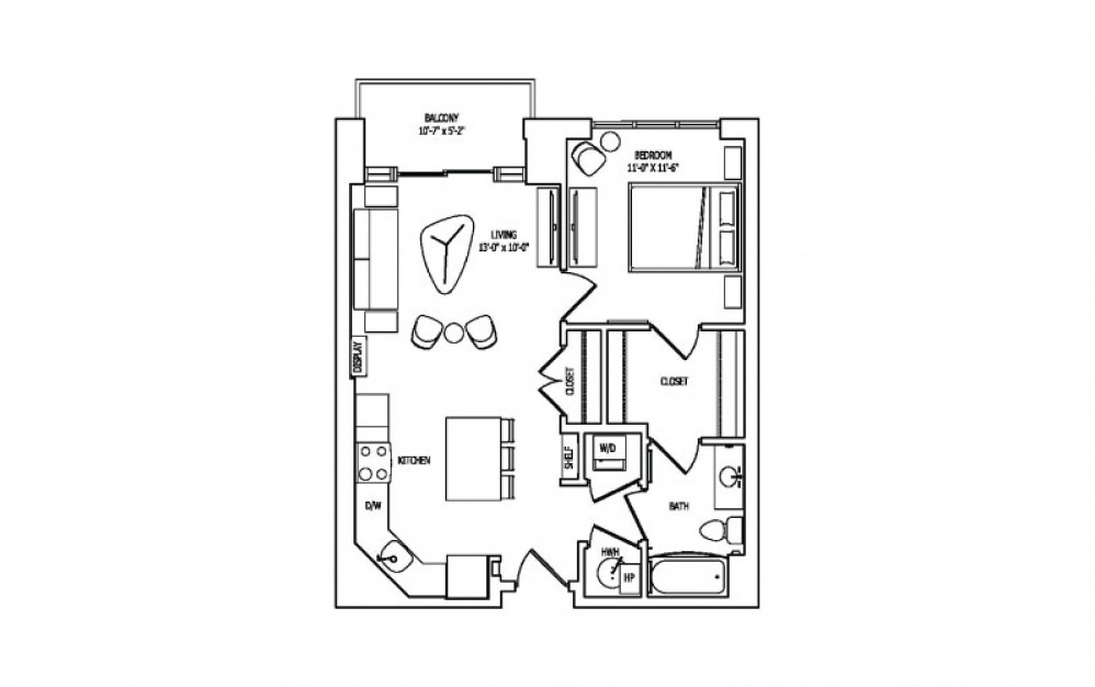 1A-2A,B - 1 bedroom floorplan layout with 1 bath and 734 square feet.