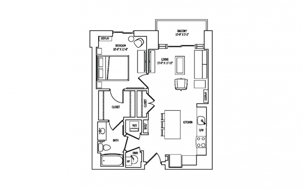 1A-2C - 1 bedroom floorplan layout with 1 bath and 736 square feet.