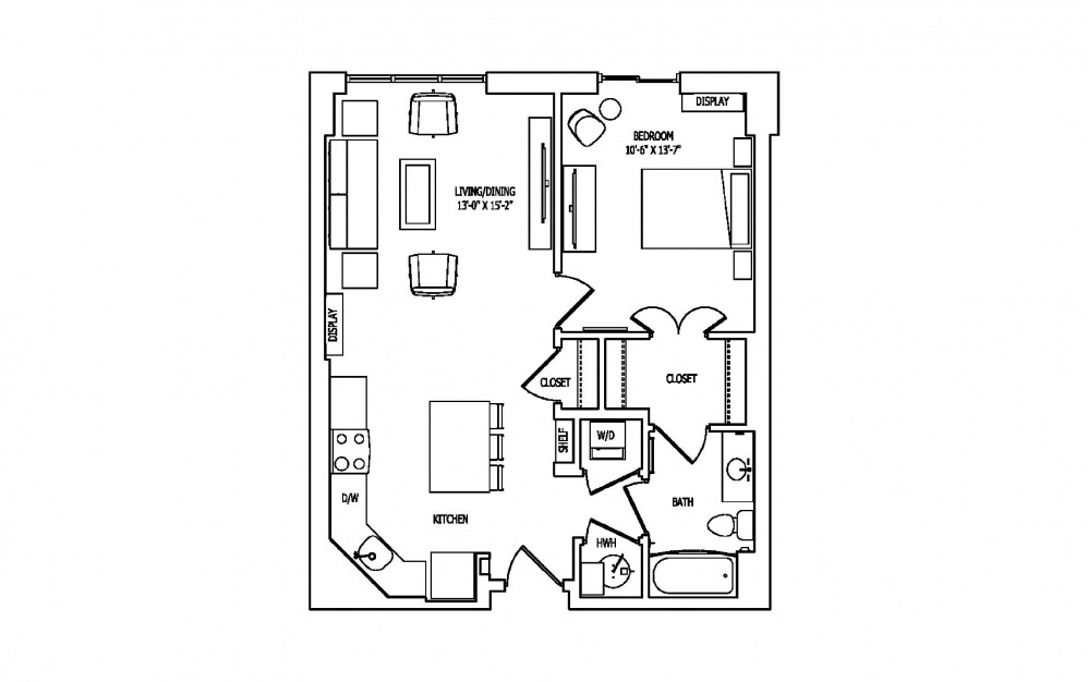 1A-4 - 1 bedroom floorplan layout with 1 bath and 770 square feet.