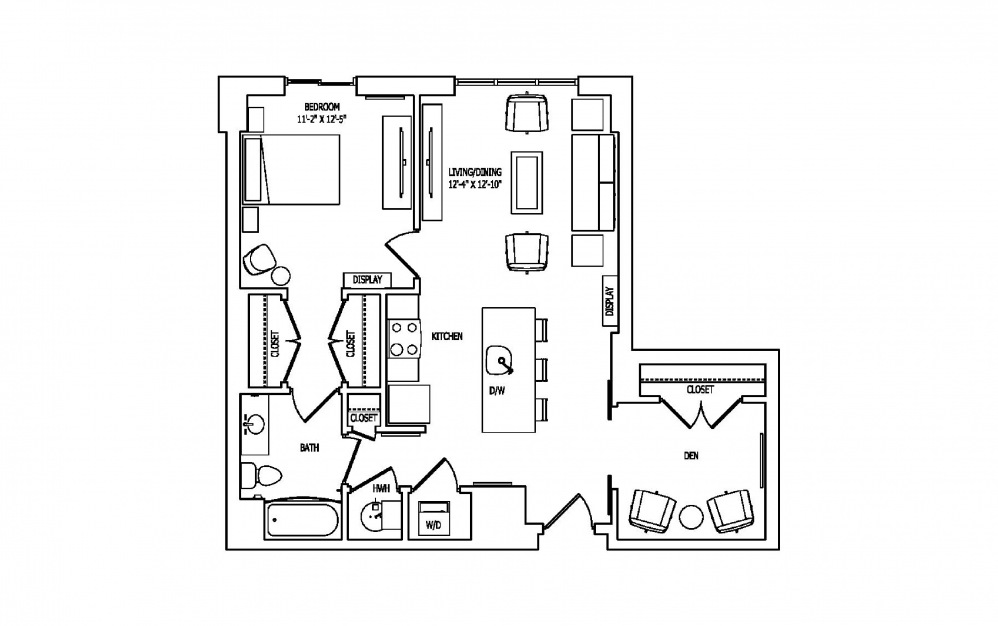 1A-5 - 1 bedroom floorplan layout with 1 bath and 874 square feet.