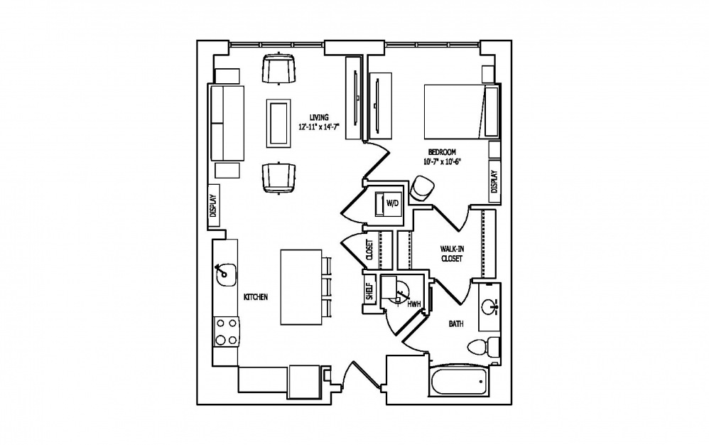 1A-A,B - 1 bedroom floorplan layout with 1 bath and 756 square feet.