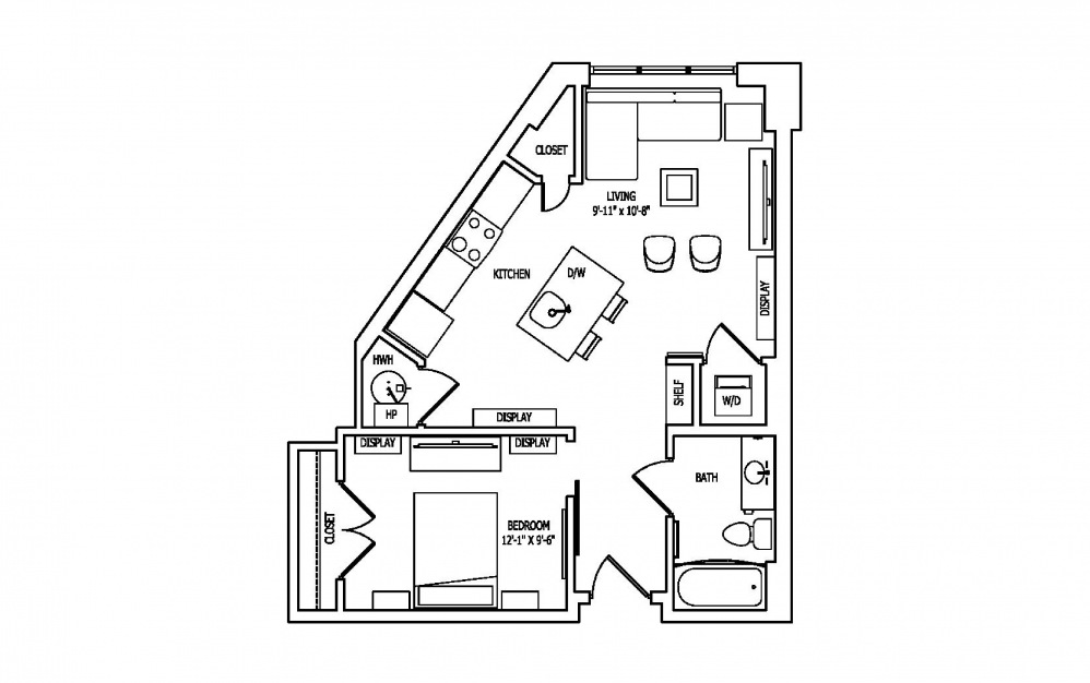 1C-1 - Studio floorplan layout with 1 bath and 646 square feet.