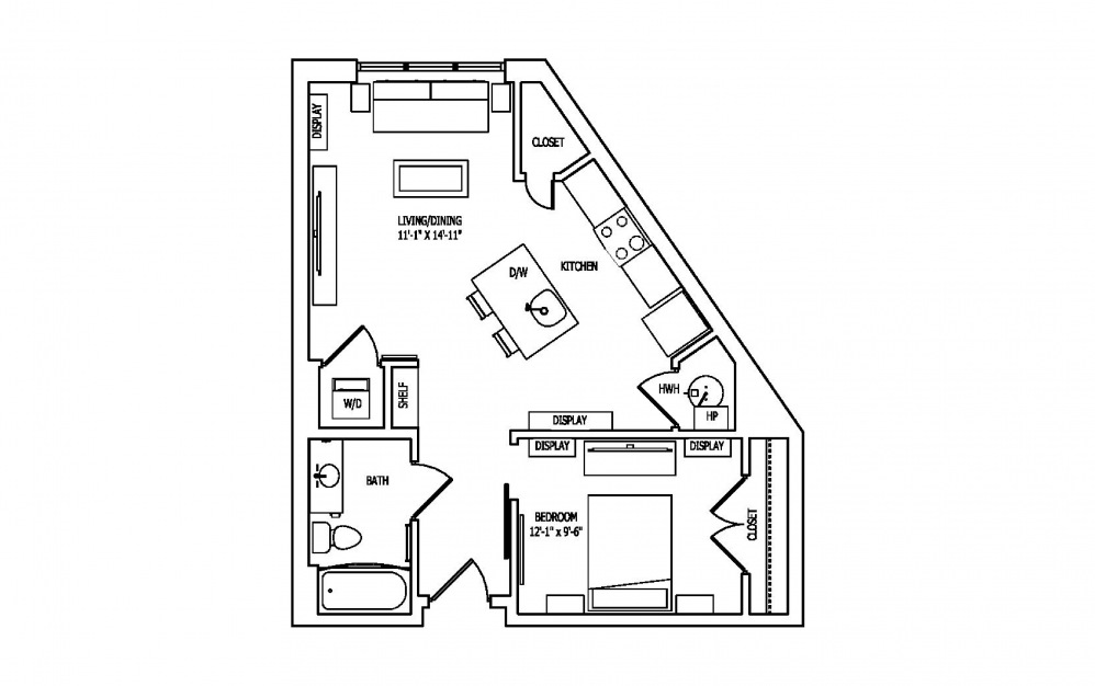 1C-2 - Studio floorplan layout with 1 bath and 665 square feet.