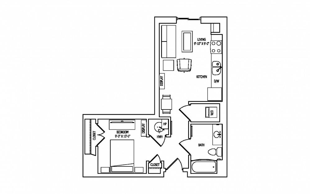1D - Studio floorplan layout with 1 bath and 554 square feet.