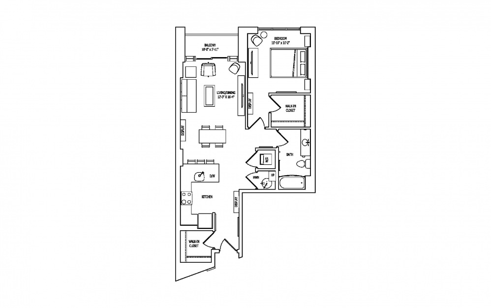 1E-2 - 1 bedroom floorplan layout with 1 bath and 889 square feet.
