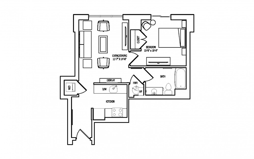 1E-3A,B - 1 bedroom floorplan layout with 1 bath and 633 square feet.