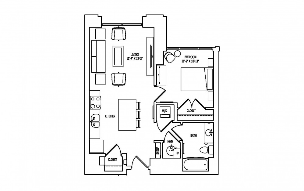 1F - 1 bedroom floorplan layout with 1 bath and 702 square feet.
