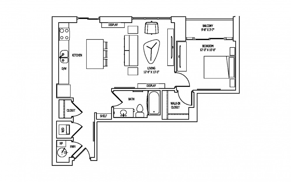 1G-1 - 1 bedroom floorplan layout with 1 bath and 774 square feet.