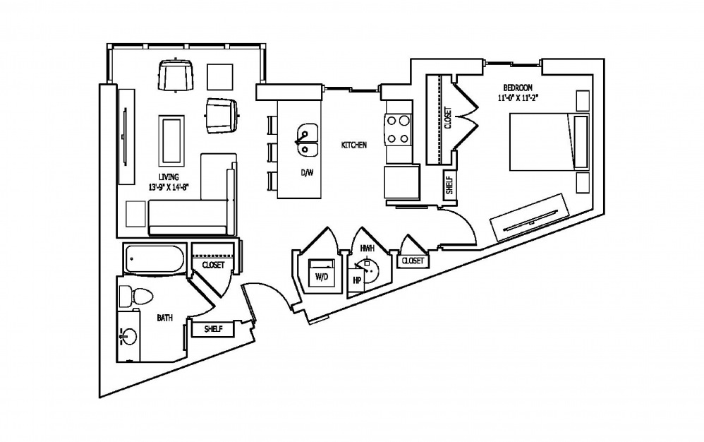 1J - 1 bedroom floorplan layout with 1 bath and 743 square feet.
