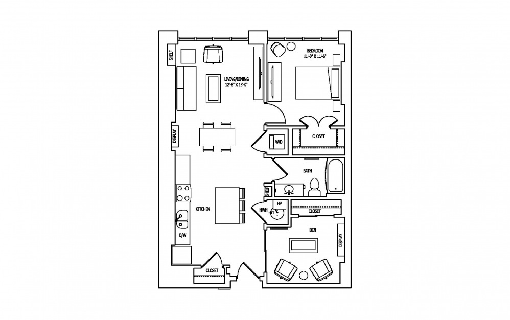 1K-1 - 1 bedroom floorplan layout with 1 bath and 922 square feet.