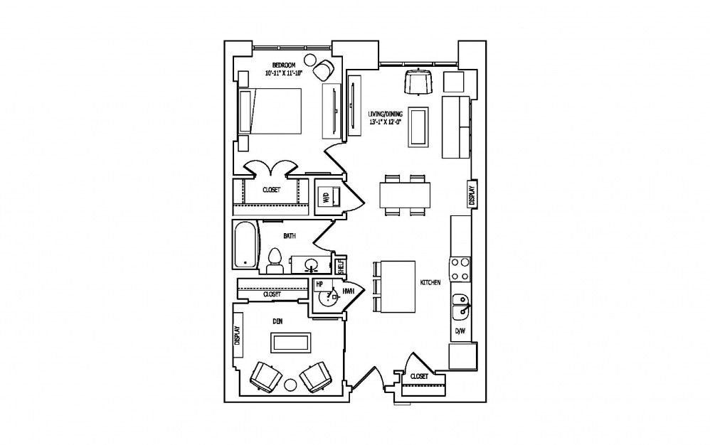 1K-2A,B - 1 bedroom floorplan layout with 1 bath and 898 square feet.