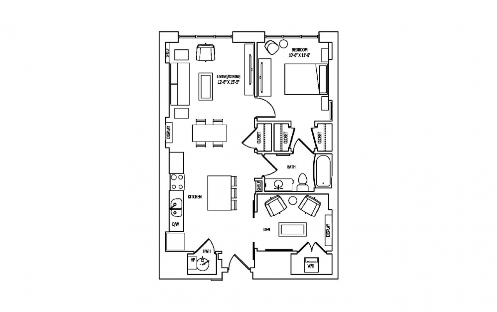 1K-3A,B - 1 bedroom floorplan layout with 1 bath and 892 to 900 square feet.