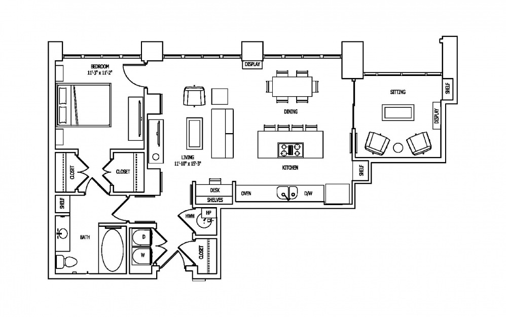 1M - 1 bedroom floorplan layout with 1 bath and 1106 square feet.