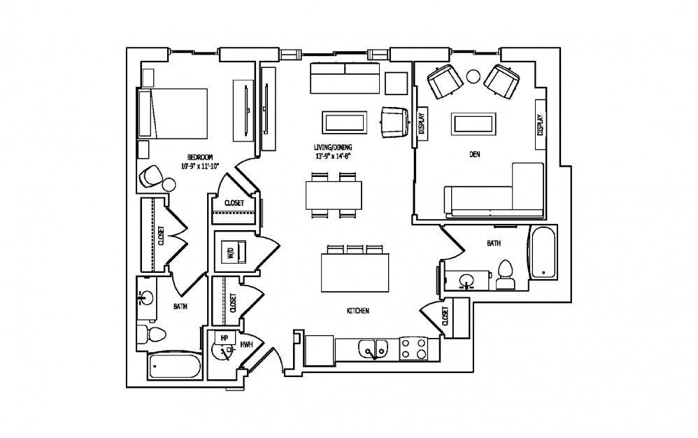 1P - 1 bedroom floorplan layout with 2 baths and 1114 square feet.