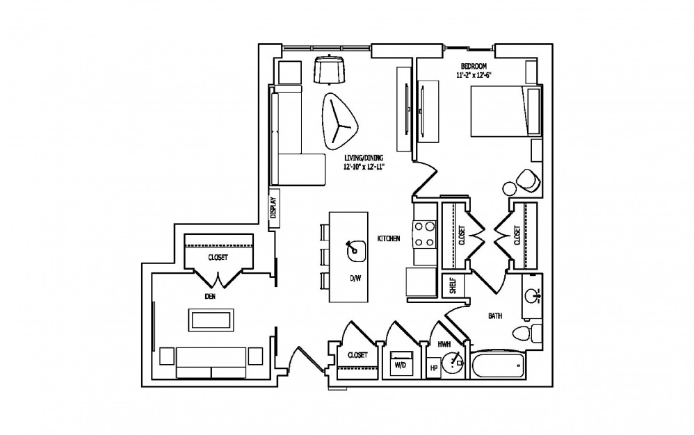 1R - 1 bedroom floorplan layout with 1 bath and 907 square feet.