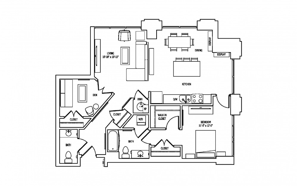 1S-1A,B - 1 bedroom floorplan layout with 1.5 bath and 1151 to 1154 square feet.