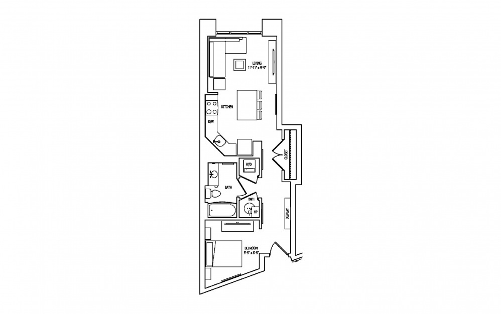 1U - Studio floorplan layout with 1 bath and 649 square feet.