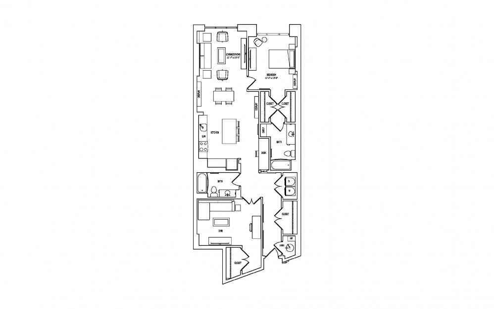1W-1 - 1 bedroom floorplan layout with 2 baths and 1530 square feet.