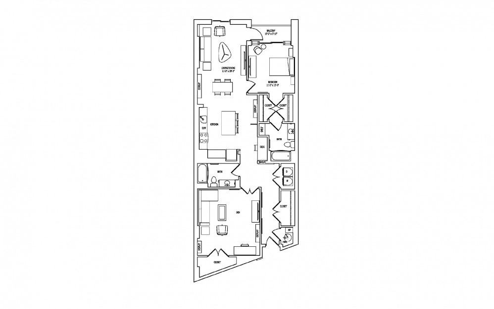 1W-2 - 1 bedroom floorplan layout with 2 baths and 1482 square feet.