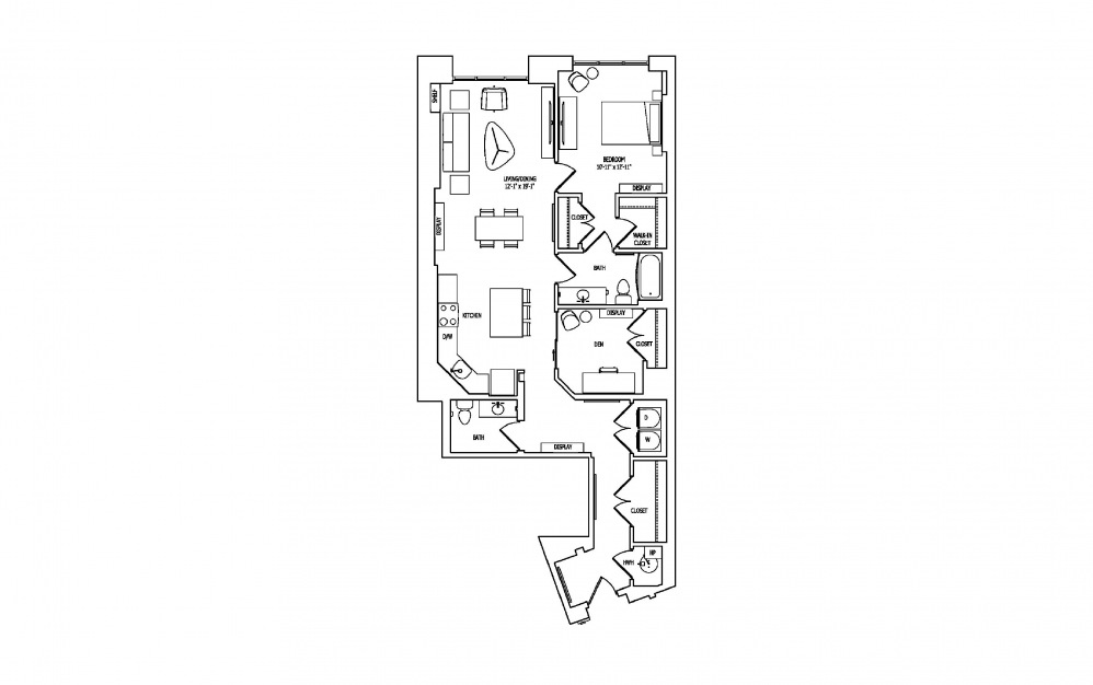 1X-1 - 1 bedroom floorplan layout with 1.5 bath and 1249 square feet.