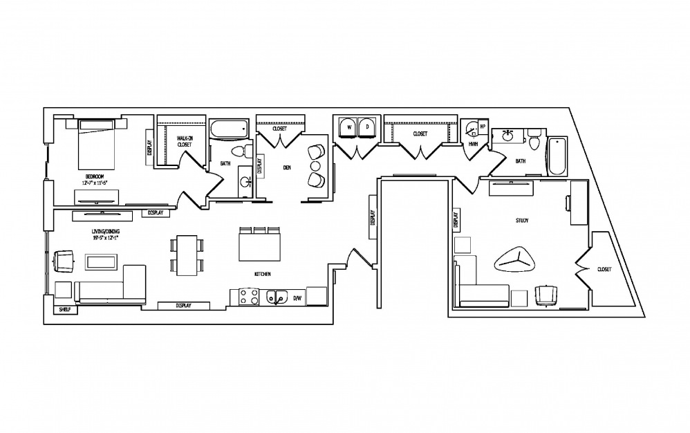1X-2 - 1 bedroom floorplan layout with 2 baths and 1629 square feet.