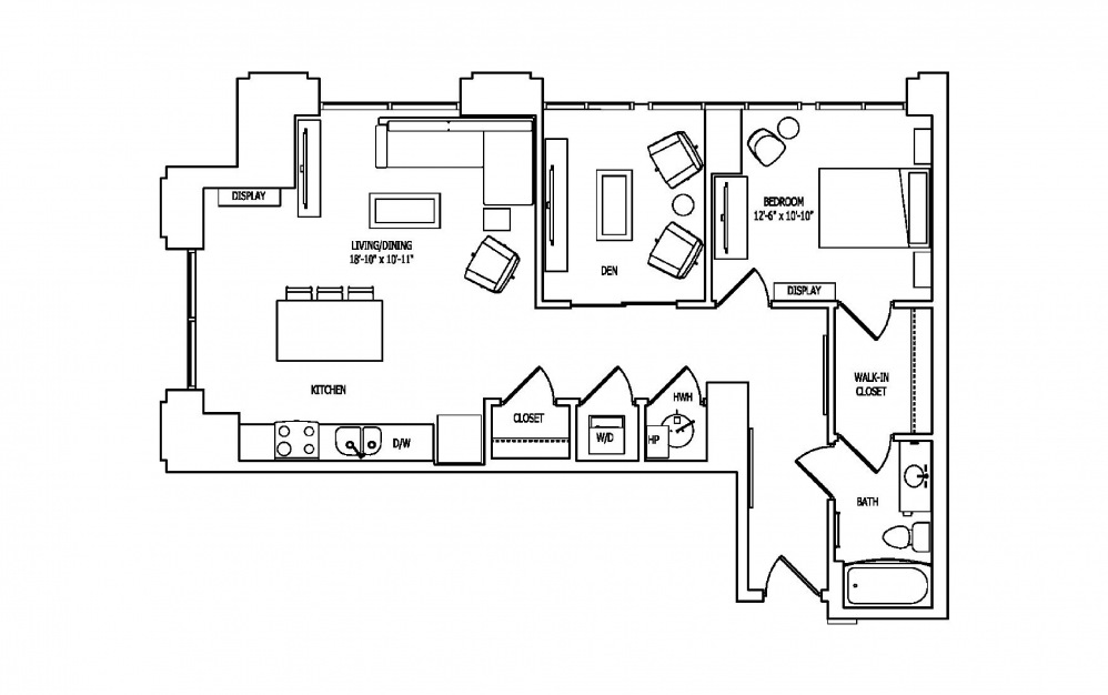 1Y - 1 bedroom floorplan layout with 1 bath and 1010 square feet.