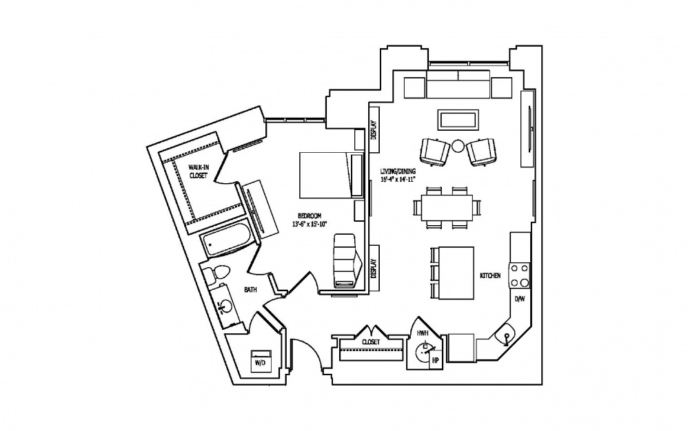1Z - 1 bedroom floorplan layout with 1 bath and 982 square feet.