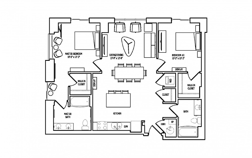 2A-1A - 2 bedroom floorplan layout with 2 baths and 1158 square feet.