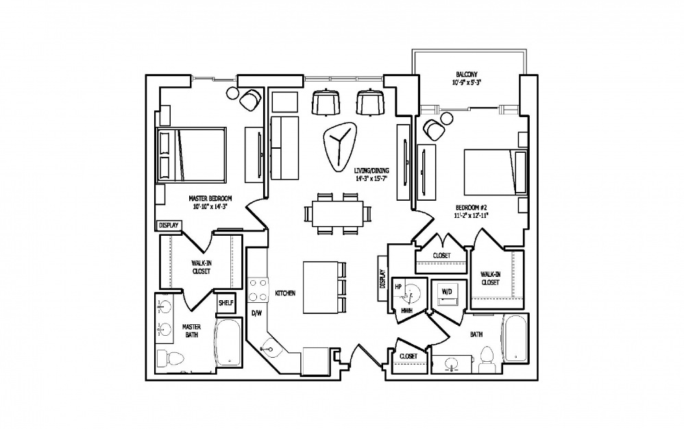 2C-1A,B - 2 bedroom floorplan layout with 2 baths and 1120 square feet.