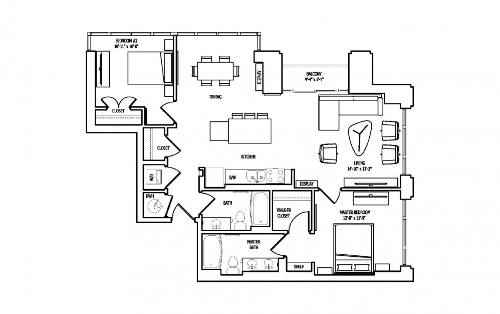 2D - 2 bedroom floorplan layout with 2 baths and 1206 square feet.