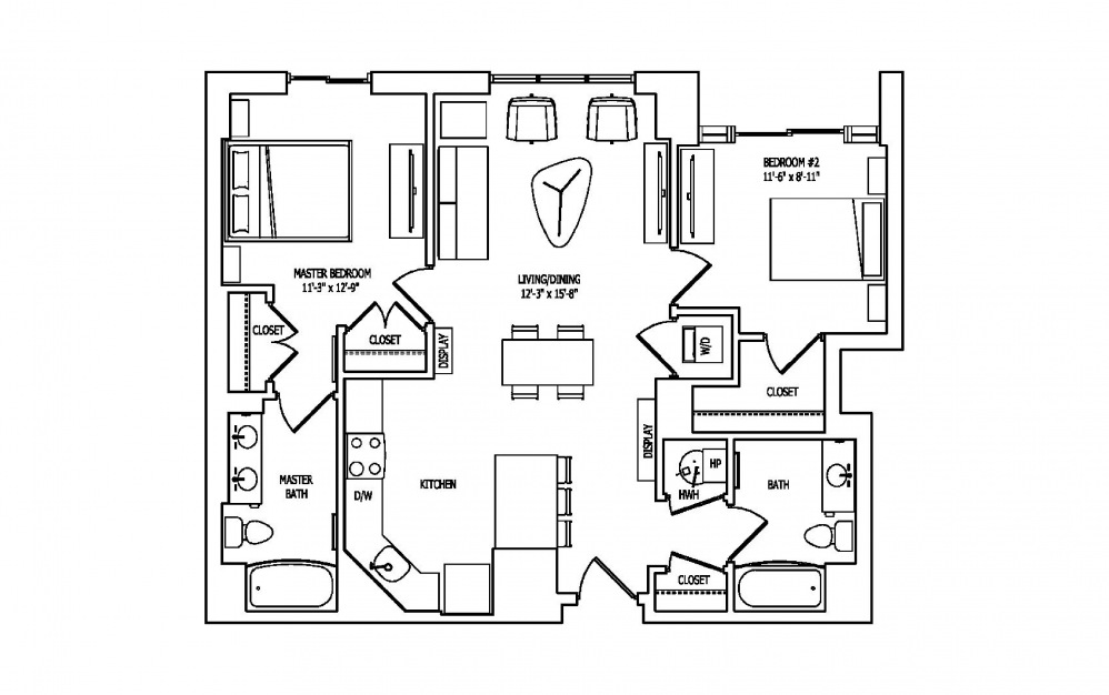 2E-2A,B - 2 bedroom floorplan layout with 2 baths and 1055 square feet.