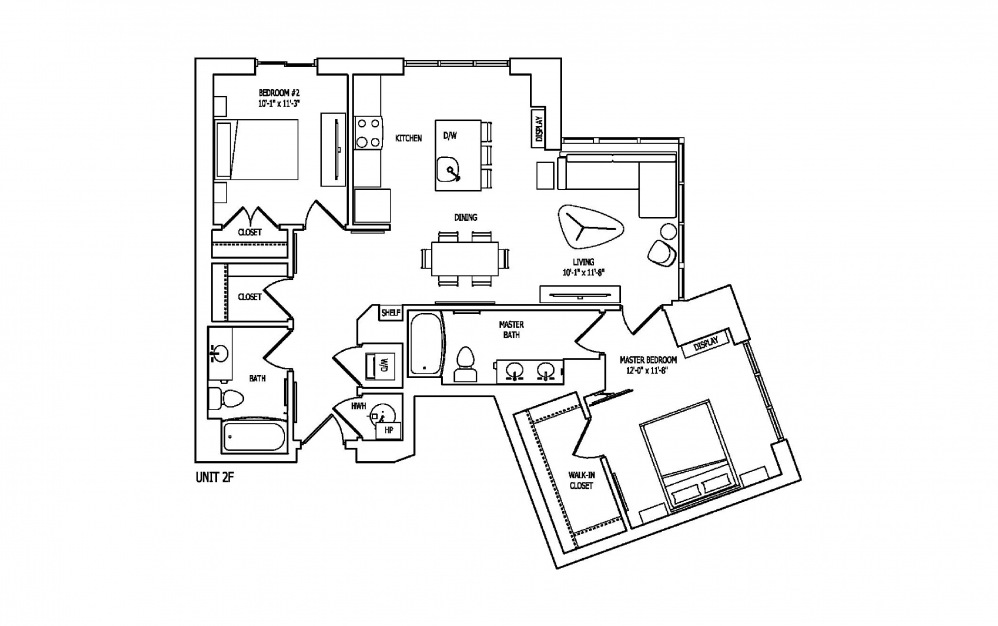 2F - 2 bedroom floorplan layout with 2 baths and 1151 square feet.