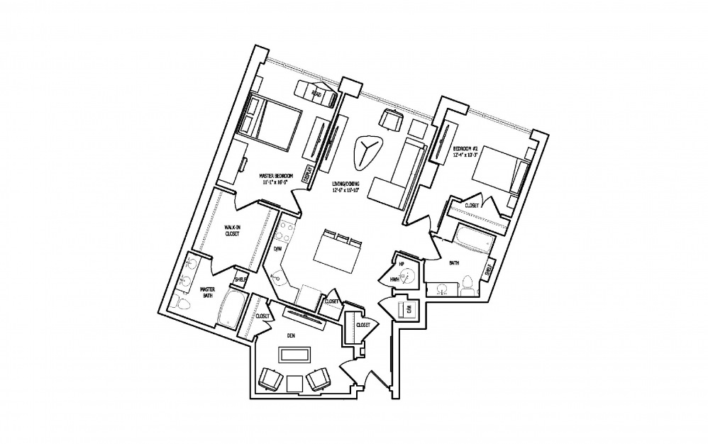2J-1 - 2 bedroom floorplan layout with 2 baths and 1348 square feet.