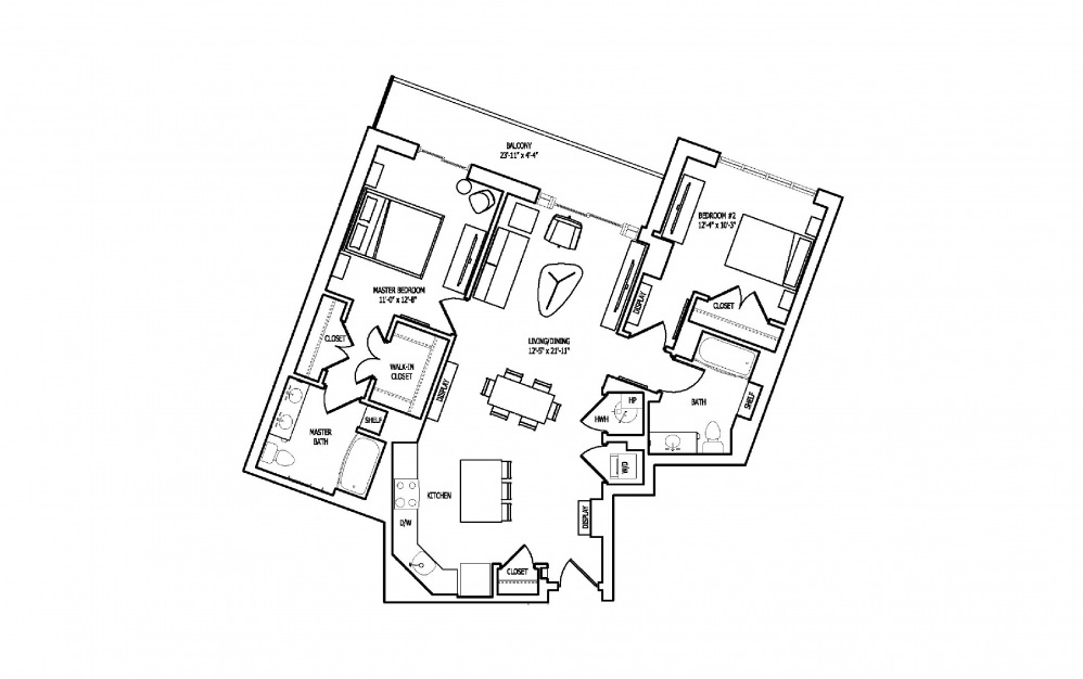 2J-2 - 2 bedroom floorplan layout with 2 baths and 1214 square feet.