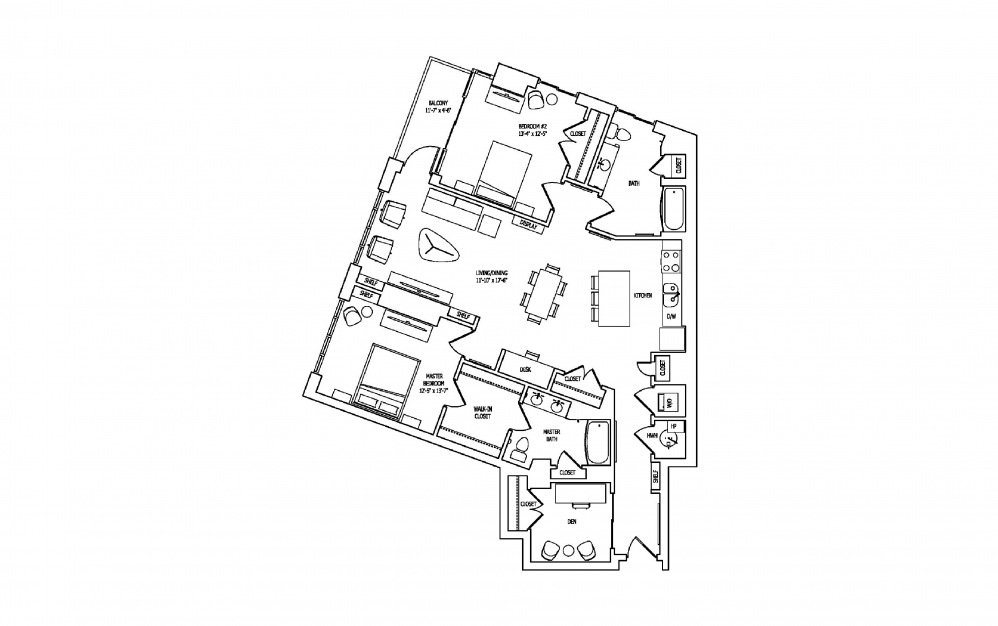 2K - 2 bedroom floorplan layout with 2 baths and 1593 square feet.