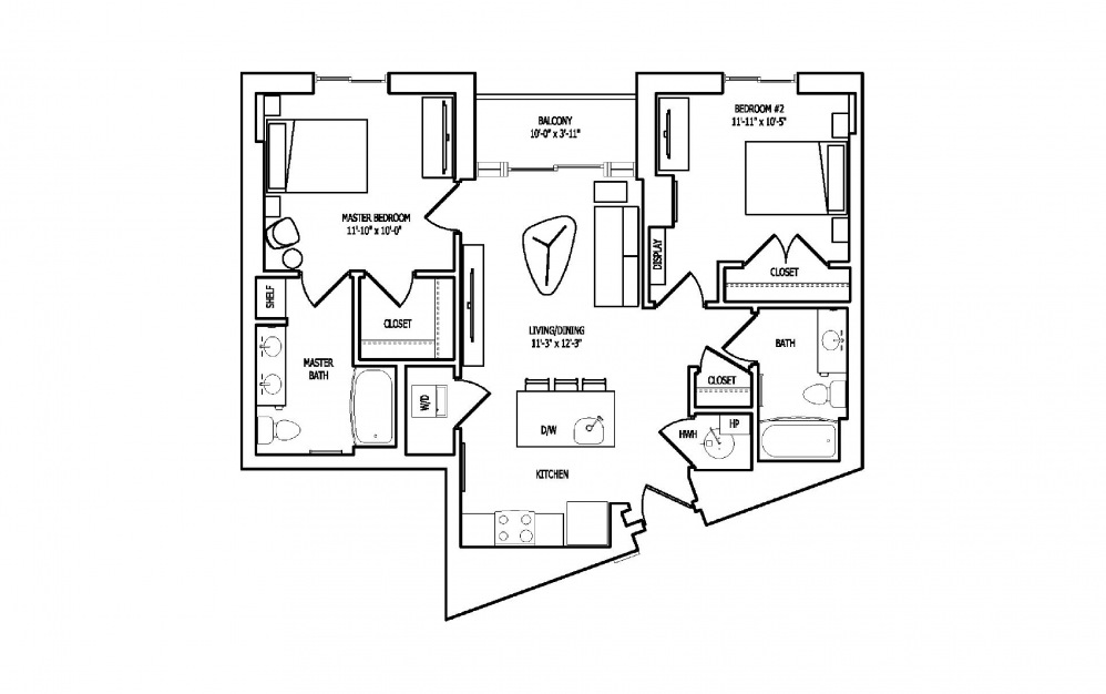 2L - 2 bedroom floorplan layout with 2 baths and 989 square feet.