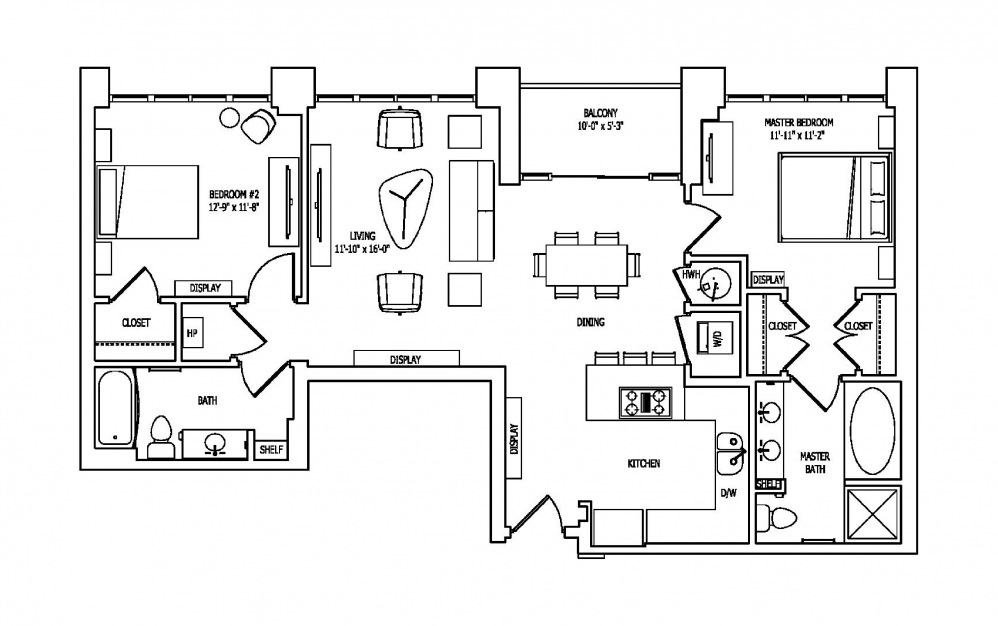 2M - 2 bedroom floorplan layout with 2 baths and 1214 square feet.