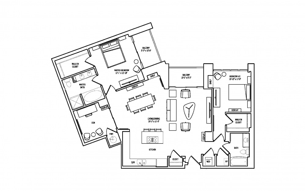 2N - 2 bedroom floorplan layout with 2 baths and 1596 square feet.