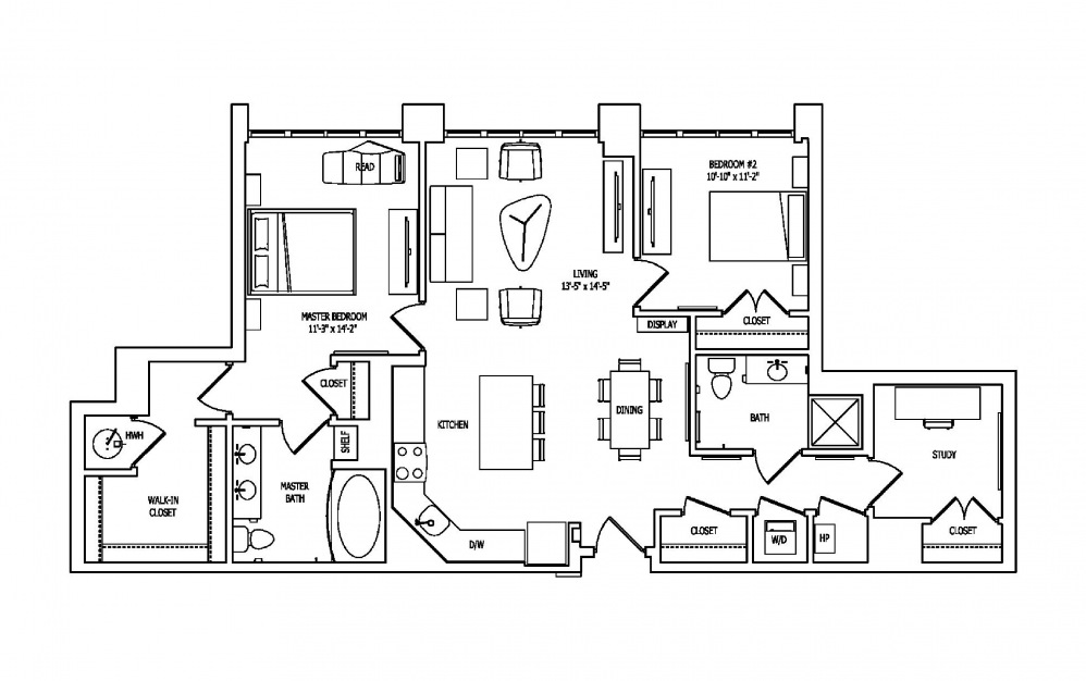 2P - 2 bedroom floorplan layout with 2 baths and 1359 square feet.