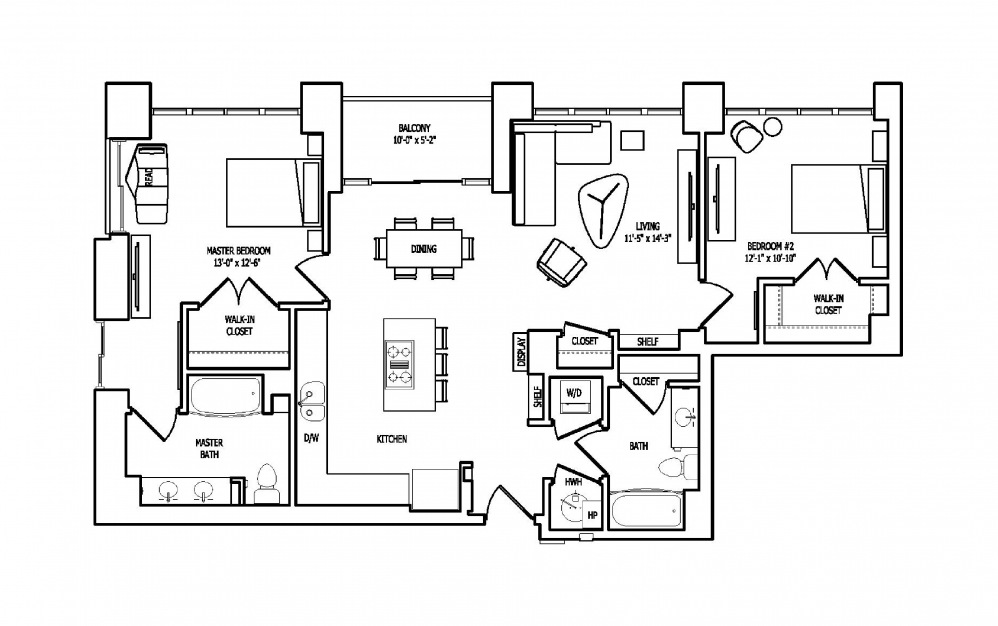 2Q-1A,B - 2 bedroom floorplan layout with 2 baths and 1281 square feet.