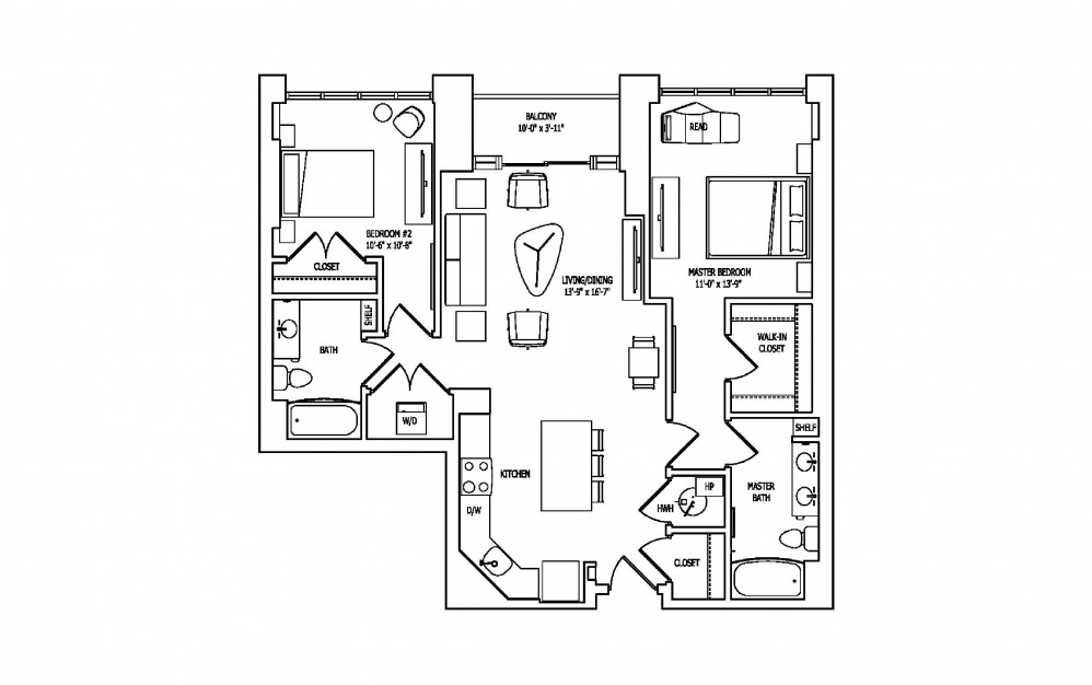 2R - 2 bedroom floorplan layout with 2 baths and 1164 square feet.