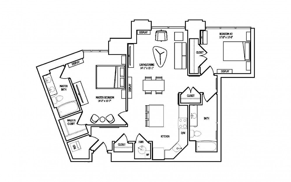 2S-1A,B - 2 bedroom floorplan layout with 2 baths and 1214 to 1219 square feet.