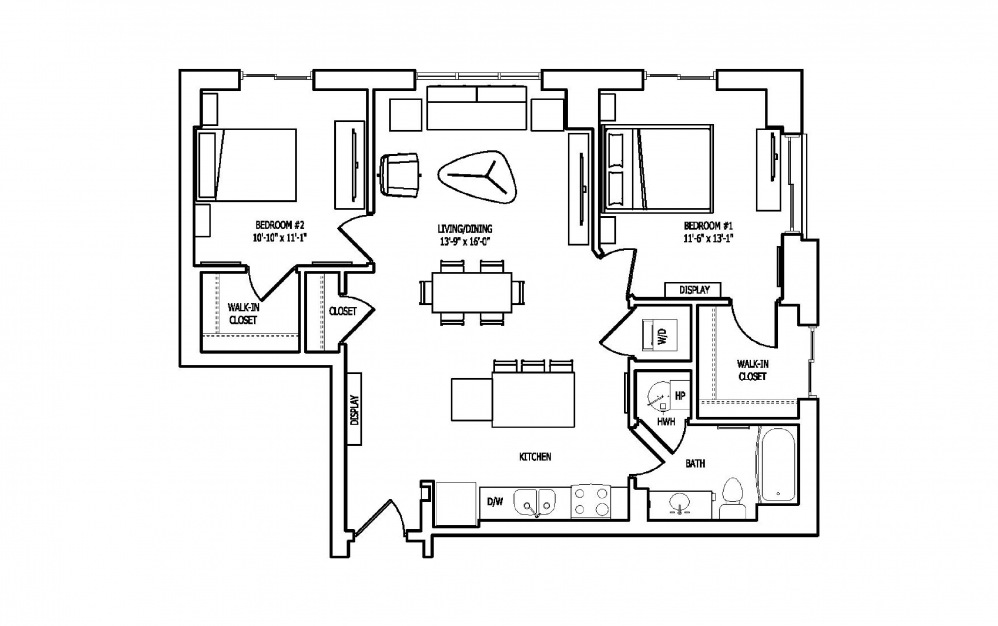 2T - 2 bedroom floorplan layout with 1 bath and 1045 square feet.
