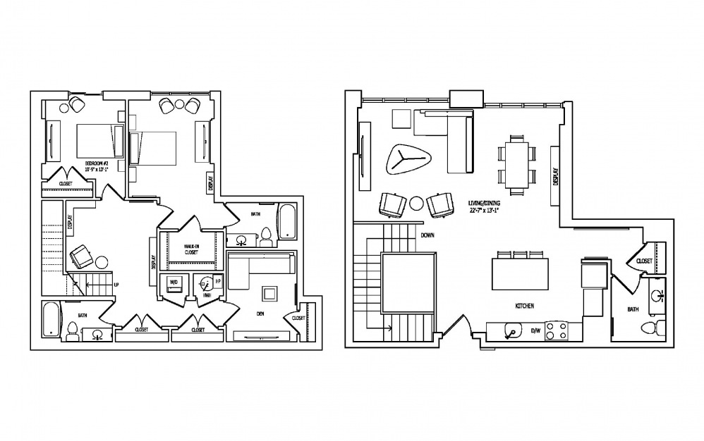 2U-1A,B - 2 bedroom floorplan layout with 2.5 baths and 1854 square feet.
