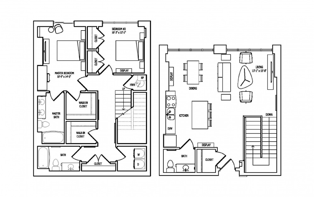 2V-1A,B - 2 bedroom floorplan layout with 2.5 baths and 1503 square feet.