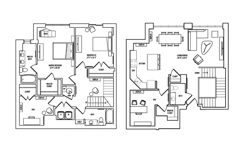 2W-1A,B - 2 bedroom floorplan layout with 2 baths and 1947 square feet.