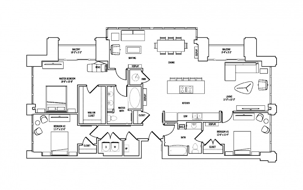 3A - 3 bedroom floorplan layout with 2 baths and 1908 square feet.