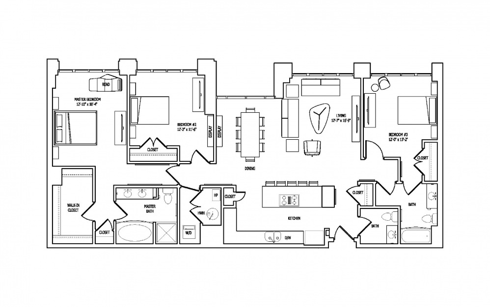 3B - 3 bedroom floorplan layout with 2.5 baths and 1779 square feet.