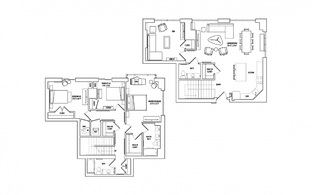 3C-1,2 - 3 bedroom floorplan layout with 2.5 baths and 1983 to 2007 square feet.