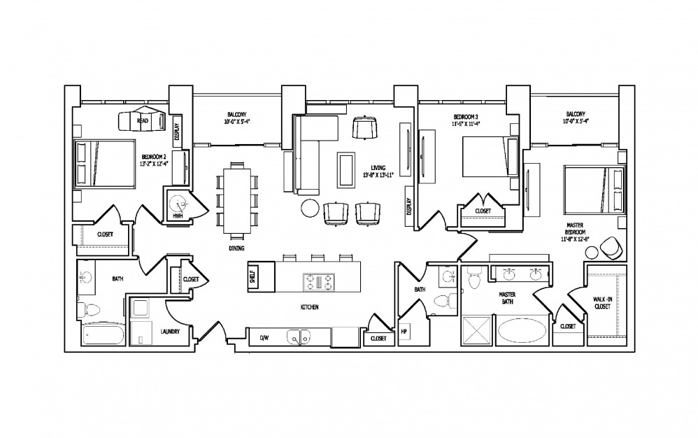 3D - 3 bedroom floorplan layout with 2.5 baths and 1699 square feet.